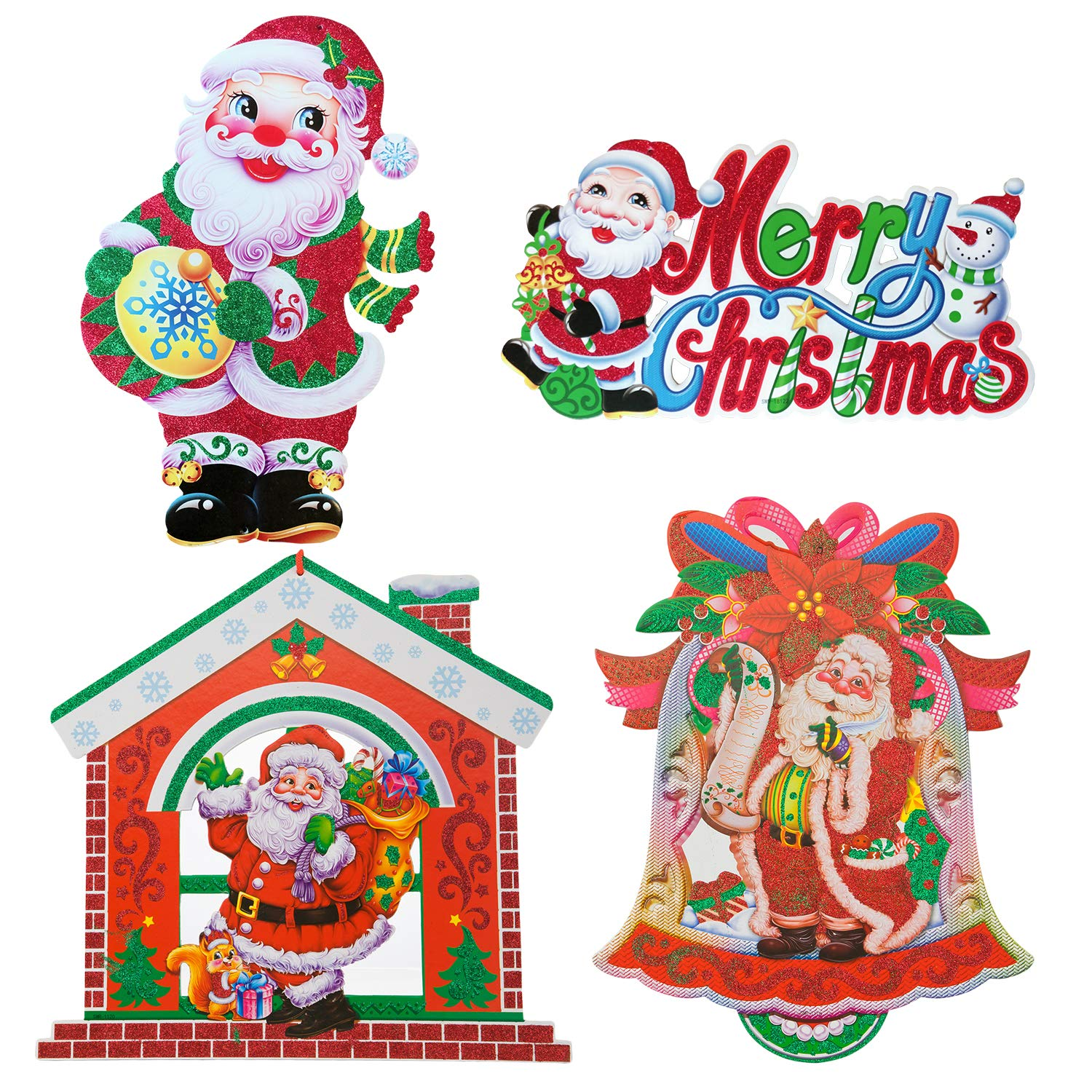 4pcs Christmas Door Decorations Hanging Sparkling Santa Claus Snowman Cardbord Decor for Holiday Party Indoor Outdoor Fireplace Home Yard Favor Gift (C)