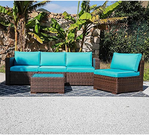 OC Orange-Casual 5 Piece Patio Furniture Set All-Weather Outdoor Small Sectional Sofa Set Weaving Wicker Couche