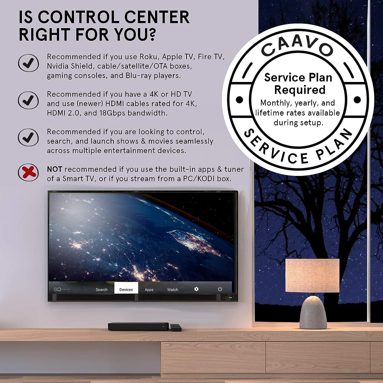 Caavo - Mando a distancia universal para TV y sistema de cine en casa (4 K, HDR, HDMI, compatible con Apple TV, Fire TV, Roku, Nvidia, Shield Sonos, barras de sonido, AVR,
