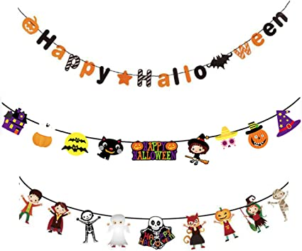 Dibiao Happy Halloween Banner,Halloween Banner Set Happy Halloween Witch Printed Hanging Banner for Halloween Party Decor