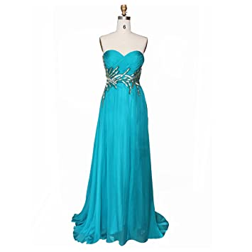 Dulamy&Finove Women Chiffon Beading Long Prom Evening Dresses (6, BLUE)