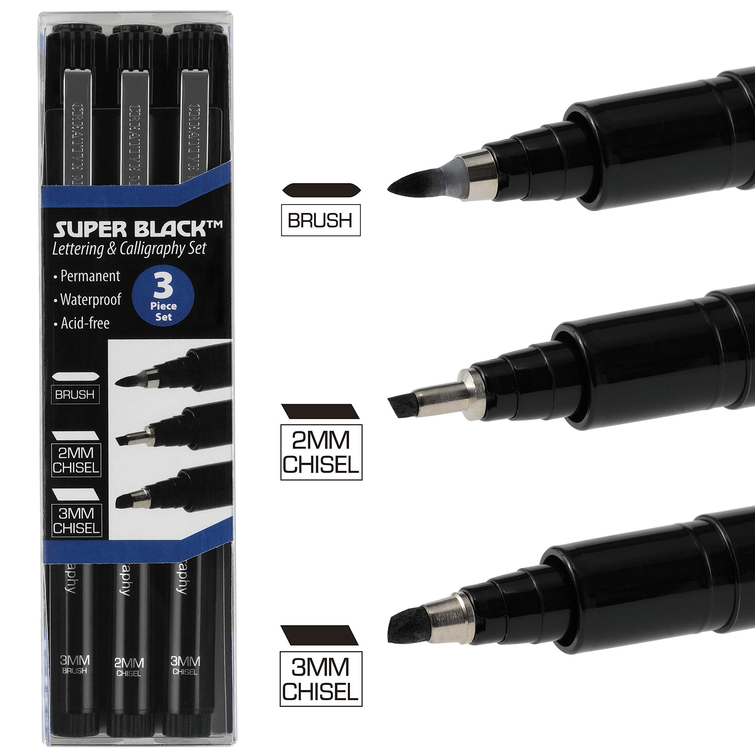 Creative Mark Calligraphy & Fineliner Pen Set Lettering Drawing Super Black, Permanent, Waterproof, Acid-Free Chisel Nylon-Nibs Pens & Medium Brush Tip - [Lettering & Calligraphy Set of 3] by Creative Mark