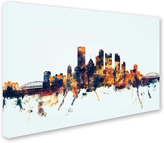 Pittsburgh Pa Skyline Blue By Michael Tompsett 16x24 Inch Canvas Wall Art Posters Prints
