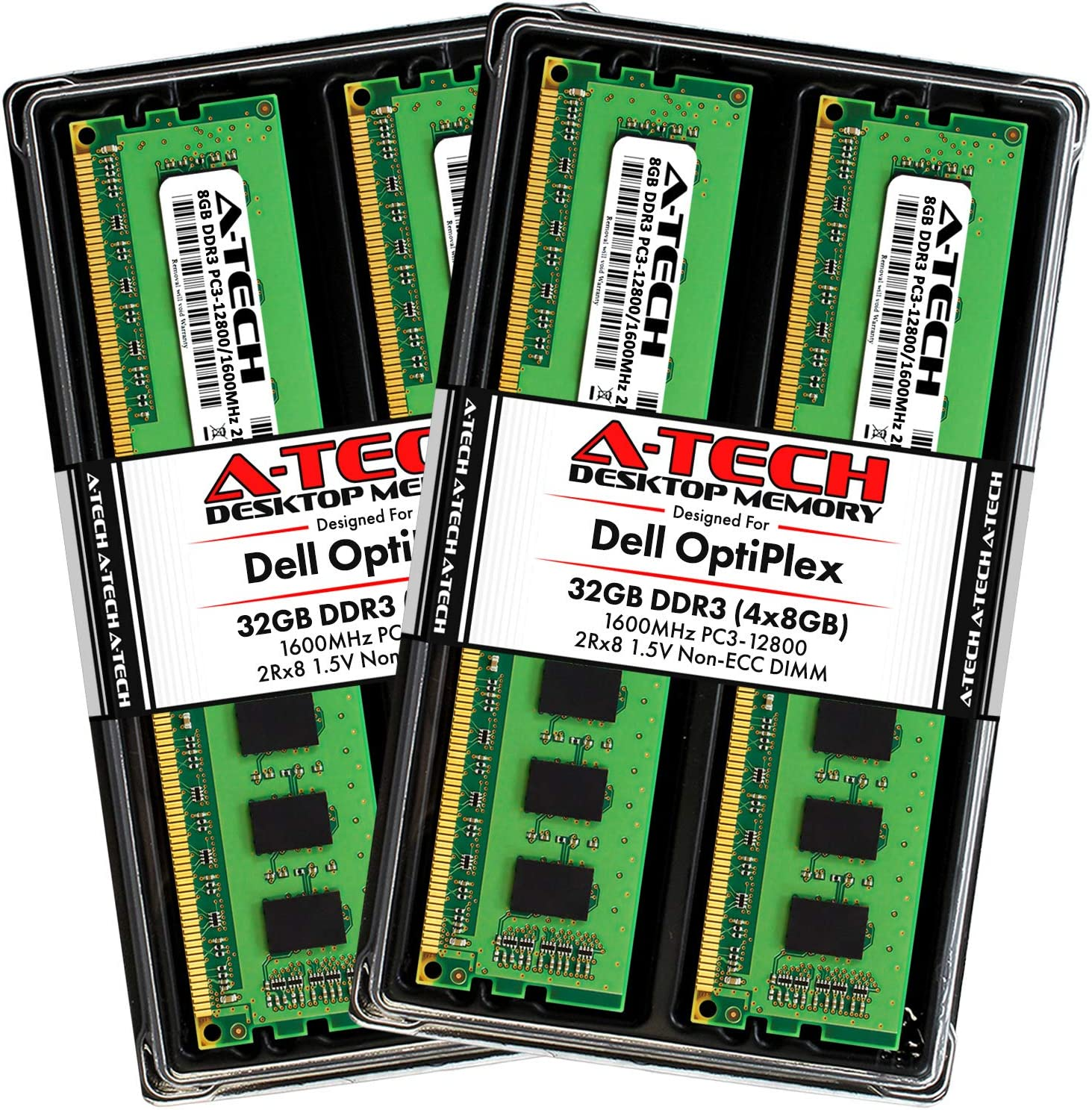 A-Tech 32GB Max RAM Kit for Dell OptiPlex 9020, 9010, 7020, 7010, MT/DT/SFF - (4 x 8GB) DDR3 1600MHz PC3-12800 Non-ECC DIMM Memory Upgrade