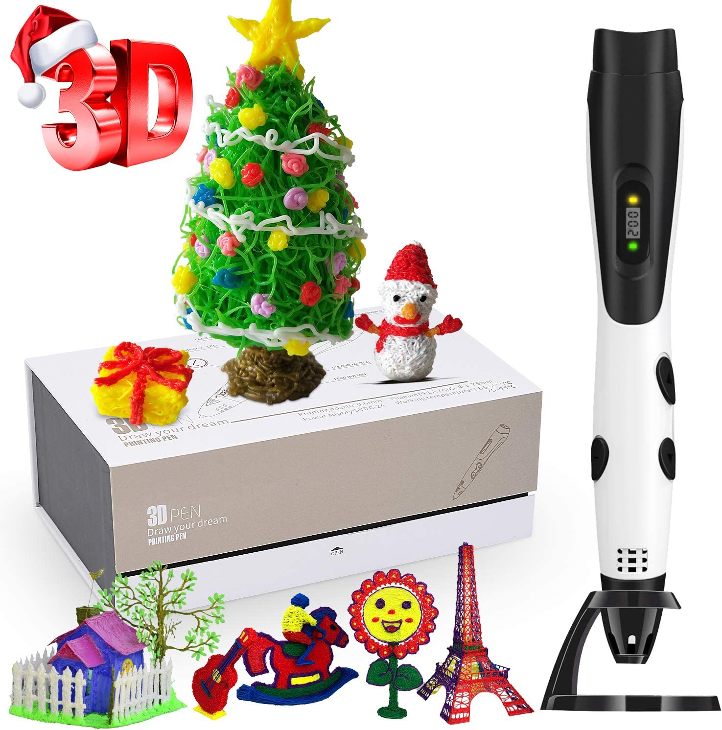3D Printing Pen, Professional 3D Pen with LCD Screen and 12 Colour Filaments, Safe and Easy to Use WAS £39.99 NOW £25.99 w/code K7RMUFGR @ Amazon