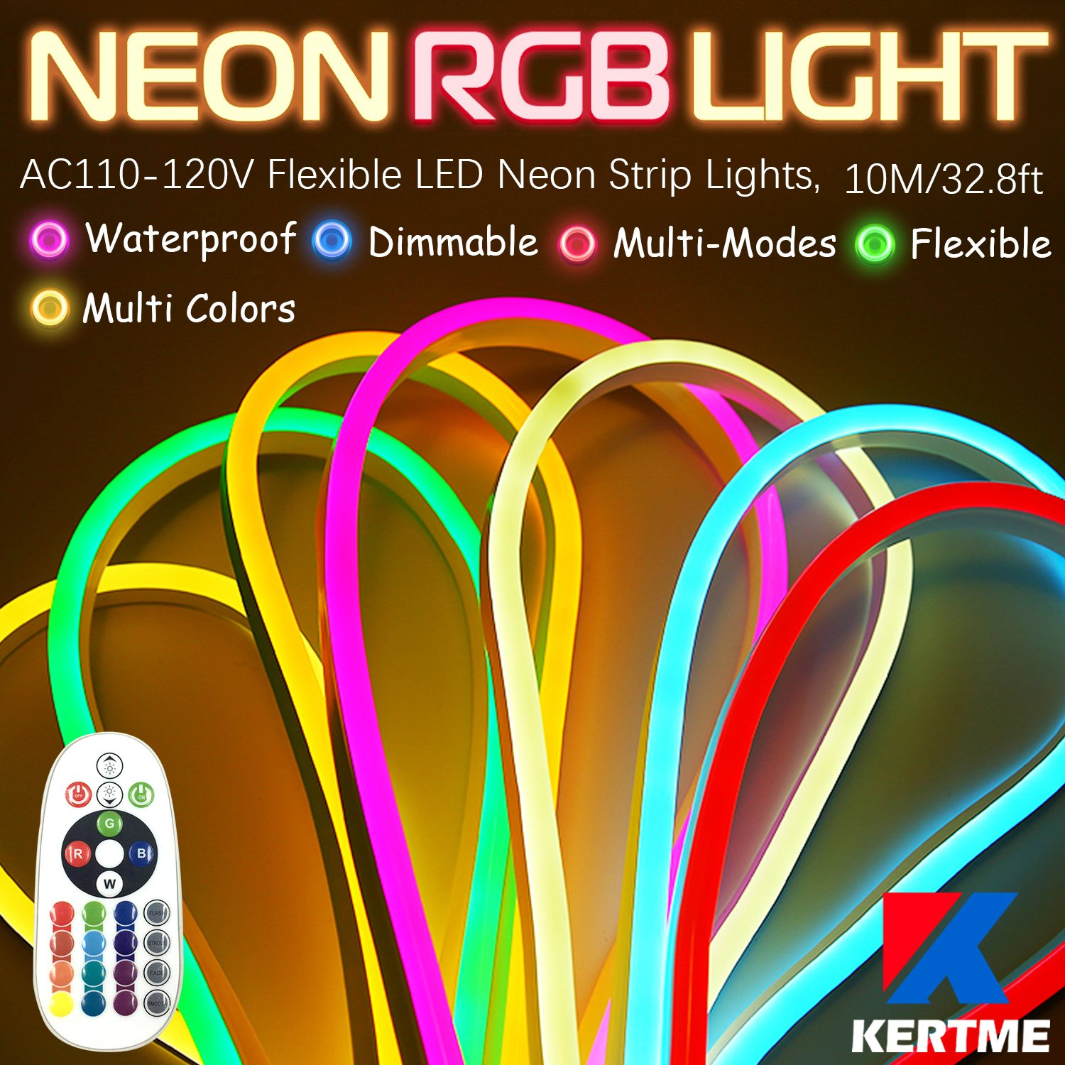 KERTME Neon Led Type AC 110-120V LED NEON LIGHT STRIP, Flexible/Waterproof/Dimmable/Multi-Colors/Multi-Modes LED Rope Light + 24 keys Remote for Home/Garden/Building Decoration (32.8ft/10m, RGB)