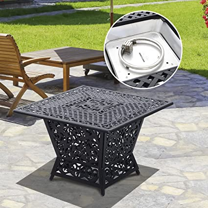Amazoncom Gas Fire Pit Table Cast Aluminum Square Outdoor - Cast aluminum gas fire pit table