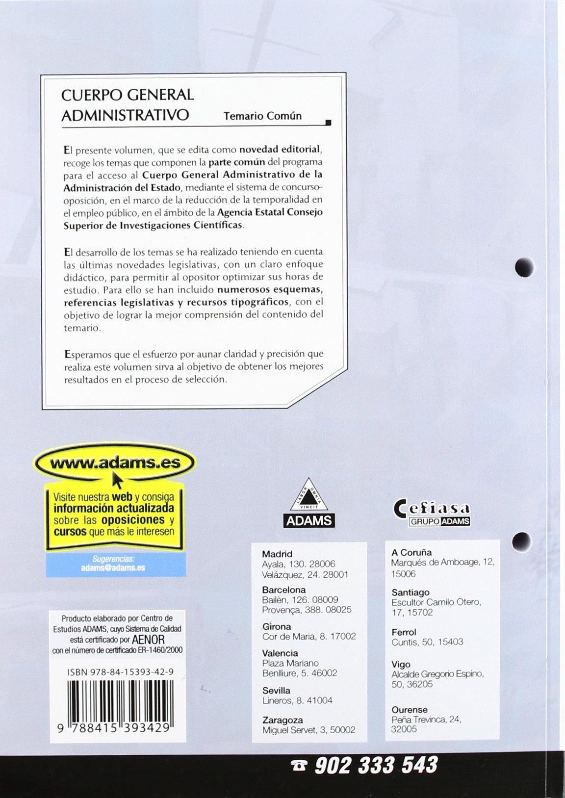 Cuerpo general administrativo (csic) temario: Amazon.es: VV.AA.: Libros