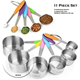 New Version 11 Piece Measuring Set By Laxinis World | Sturdy Stainless Steel Stackable 6 Measuring Cups and 5 Measuring Spoons With Soft Silicone Handles To Measure Dry and Liquid Ingredients