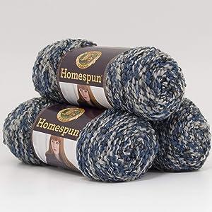 (3 Pack) Lion Brand Yarn 790-602 Homespun Yarn, Blue Moon