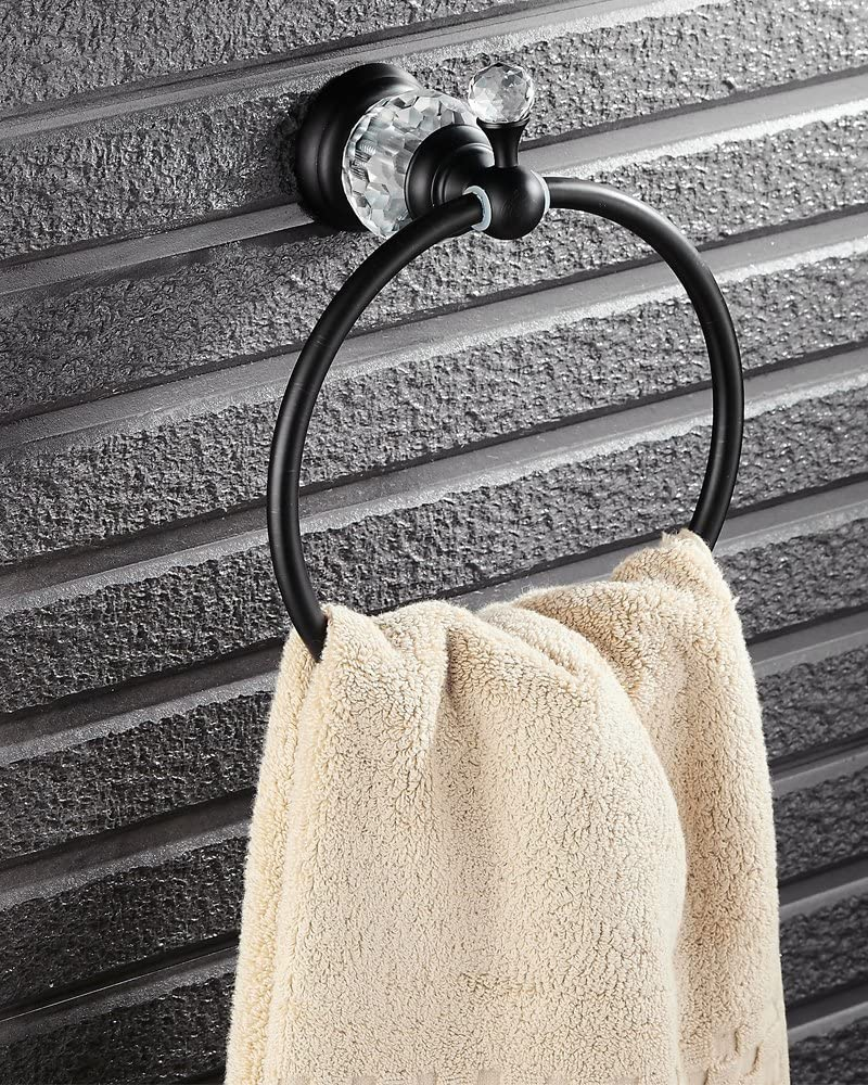 Nokozan Luxury Crystal Series Oil-Rubbed Bronze Fished Batrhoom Towel Ring Holder Wall Mouted: Home & Kitchen