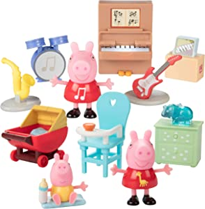 Peppa Pig Little Rooms Music Room & Baby Alexander Nursery 11 Piece Playset - Includes Peppa Figures, Instruments, Furniture & More! - Ages 2+