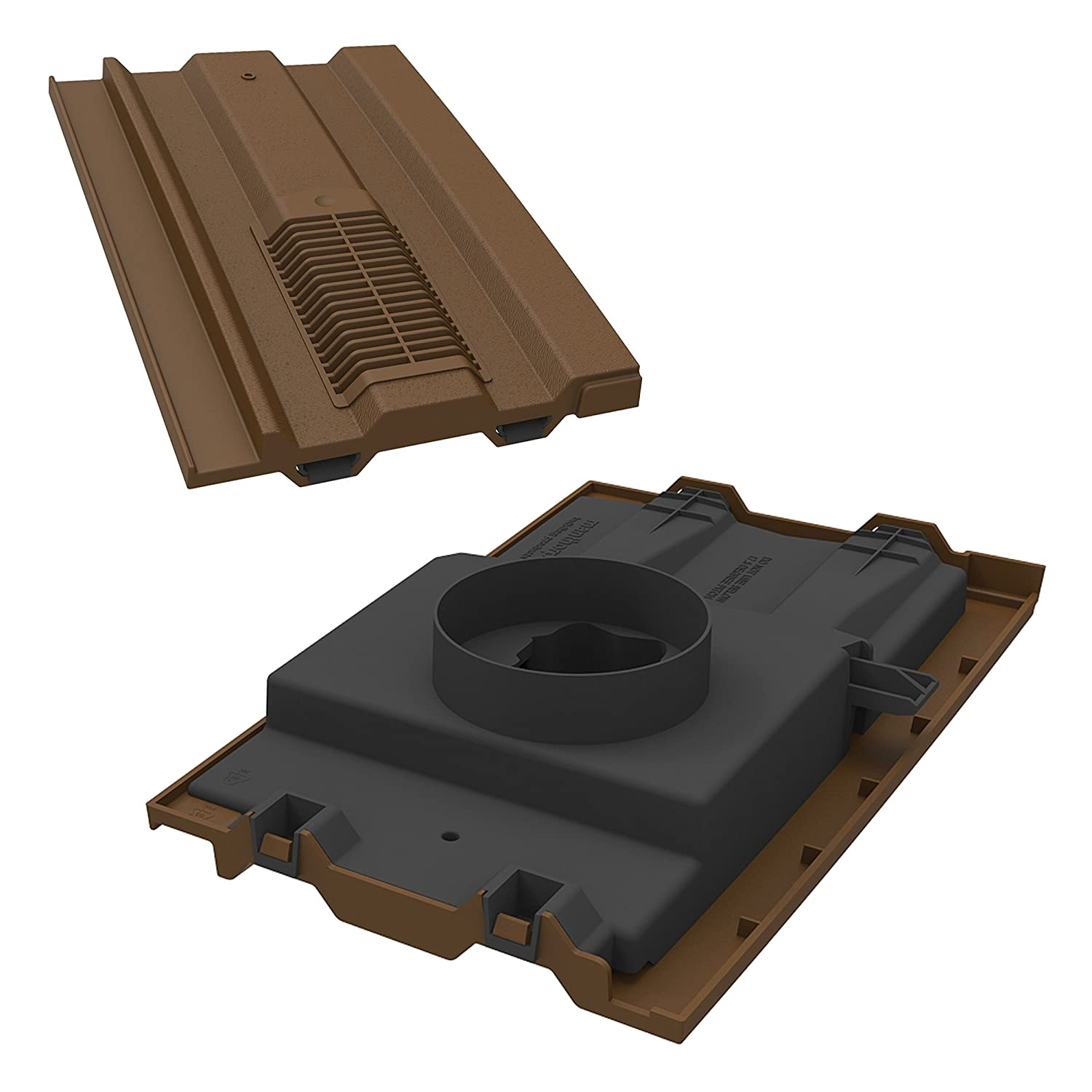Manthorpe Roof Tile Vent With Pipe Adaptor 15' x 9' To Fit Marley Ludlow Plus, Redland 49, Forticrete V2 Dark Brown Textured