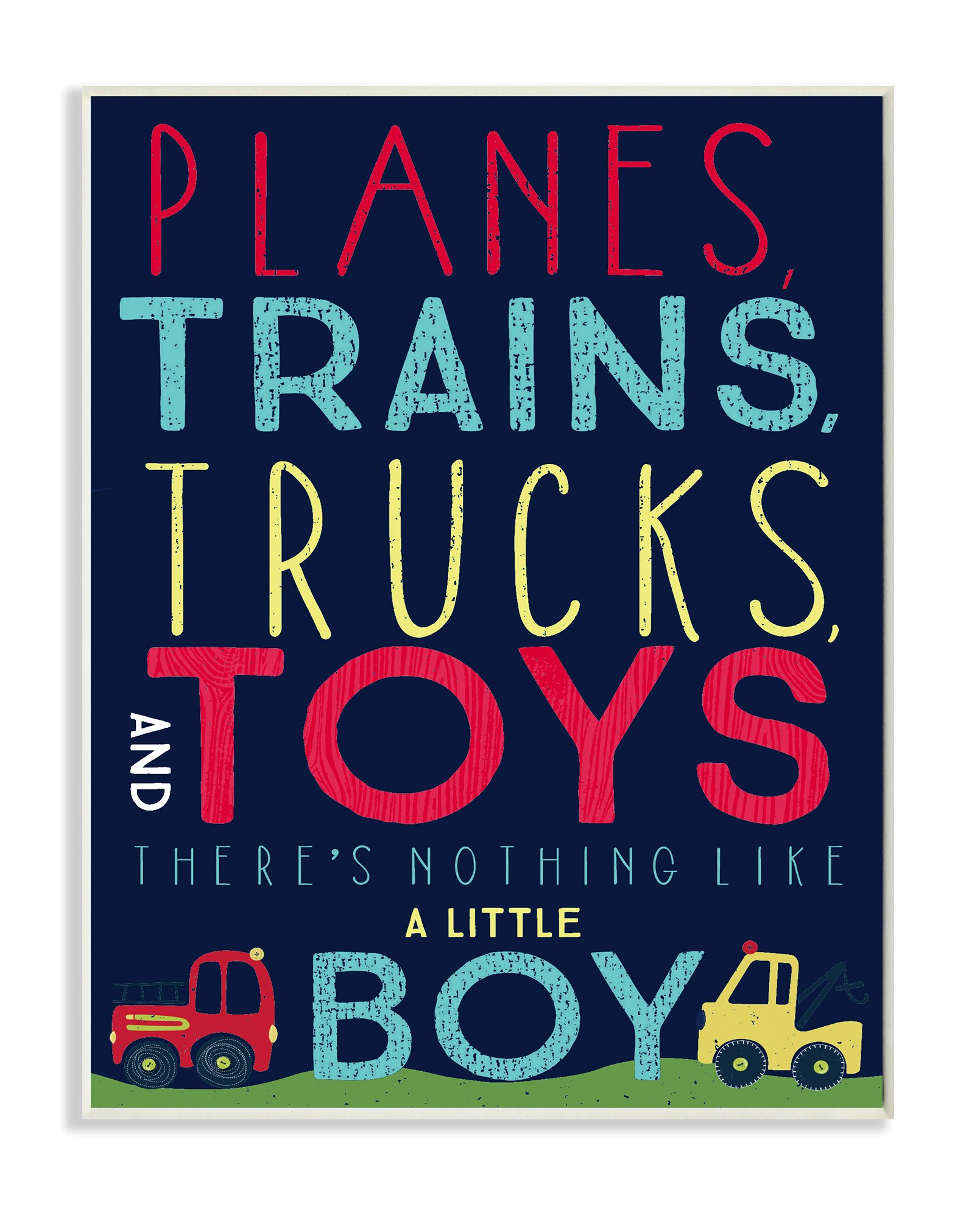 Stupell Home Décor Planes, Trains, Trucks and Toys Wall Plaque Art, 10 x 0.5 x 15, Proudly Made in USA