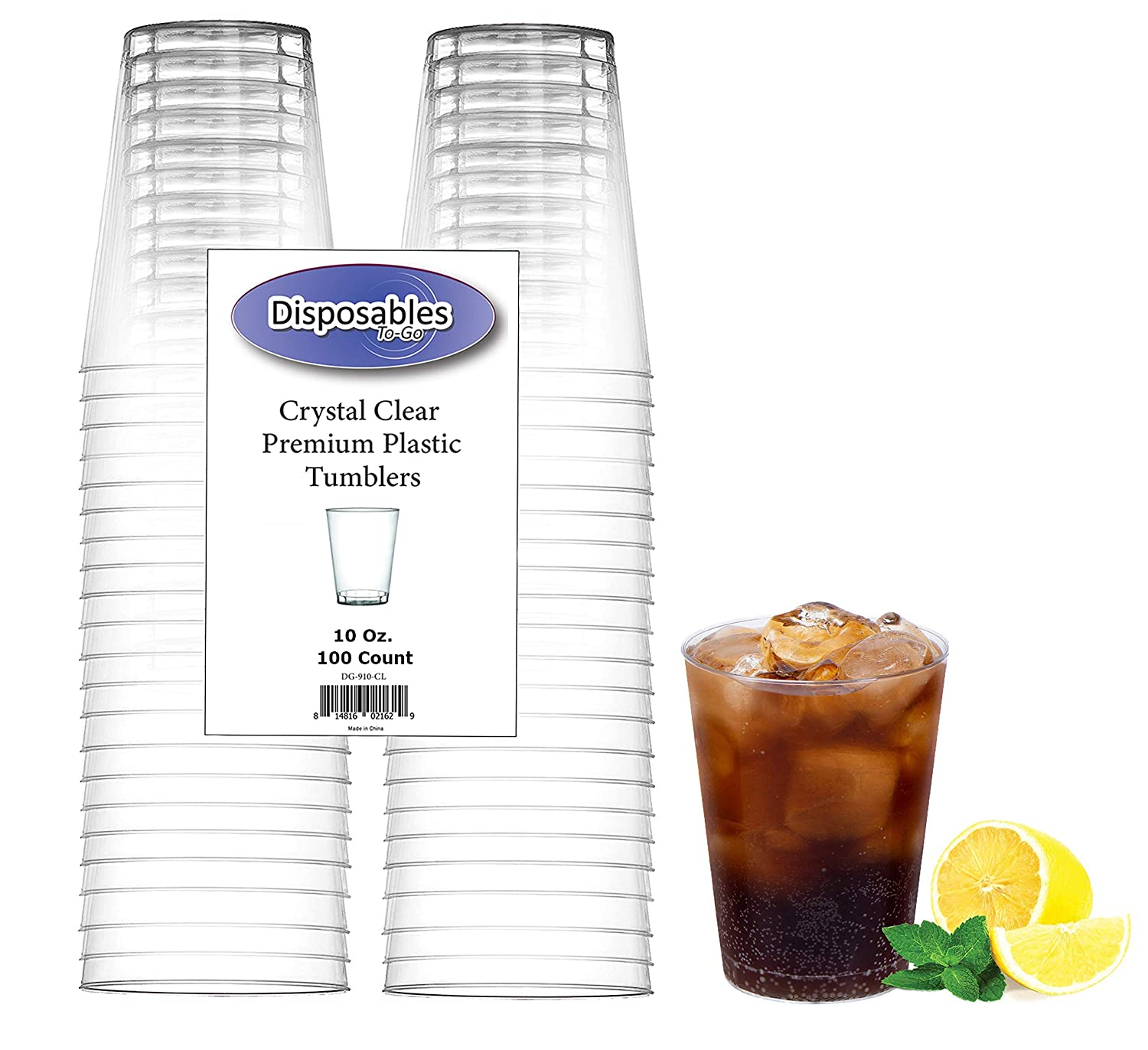 Heavy Duty 10 oz Crystal-Clear Party Tumblers | 100 Count Pack | Disposable or Reusable