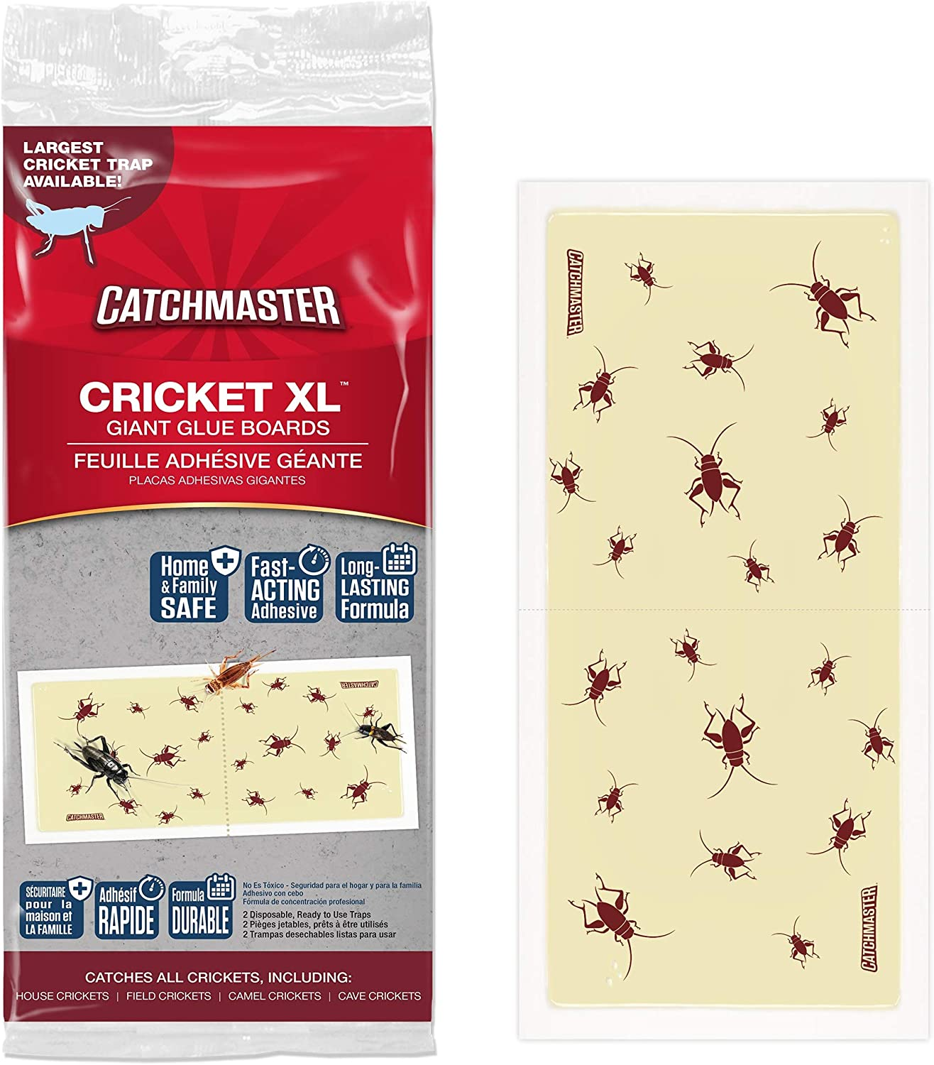 Catchmaster Cricket XL, Largest Cricket Trap Available - 6 Glue Traps