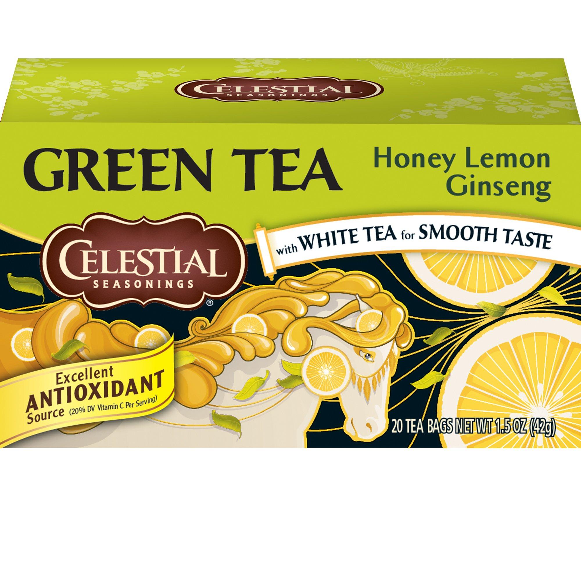 Celestial Seasonings Green Tea, Honey Lemon Ginseng, 20 Count (Pack of 6)
