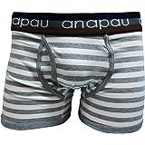 (アナパウ)anapau ワイドボーダー/グレー ユニセックスボクサーパンツ