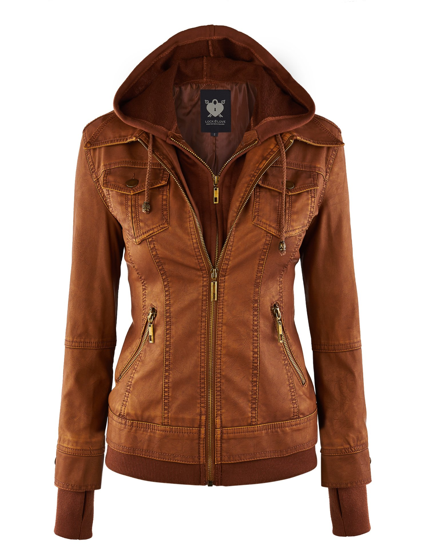 WJC664 Womens Faux Leather Jacket With Hoodie L Camel