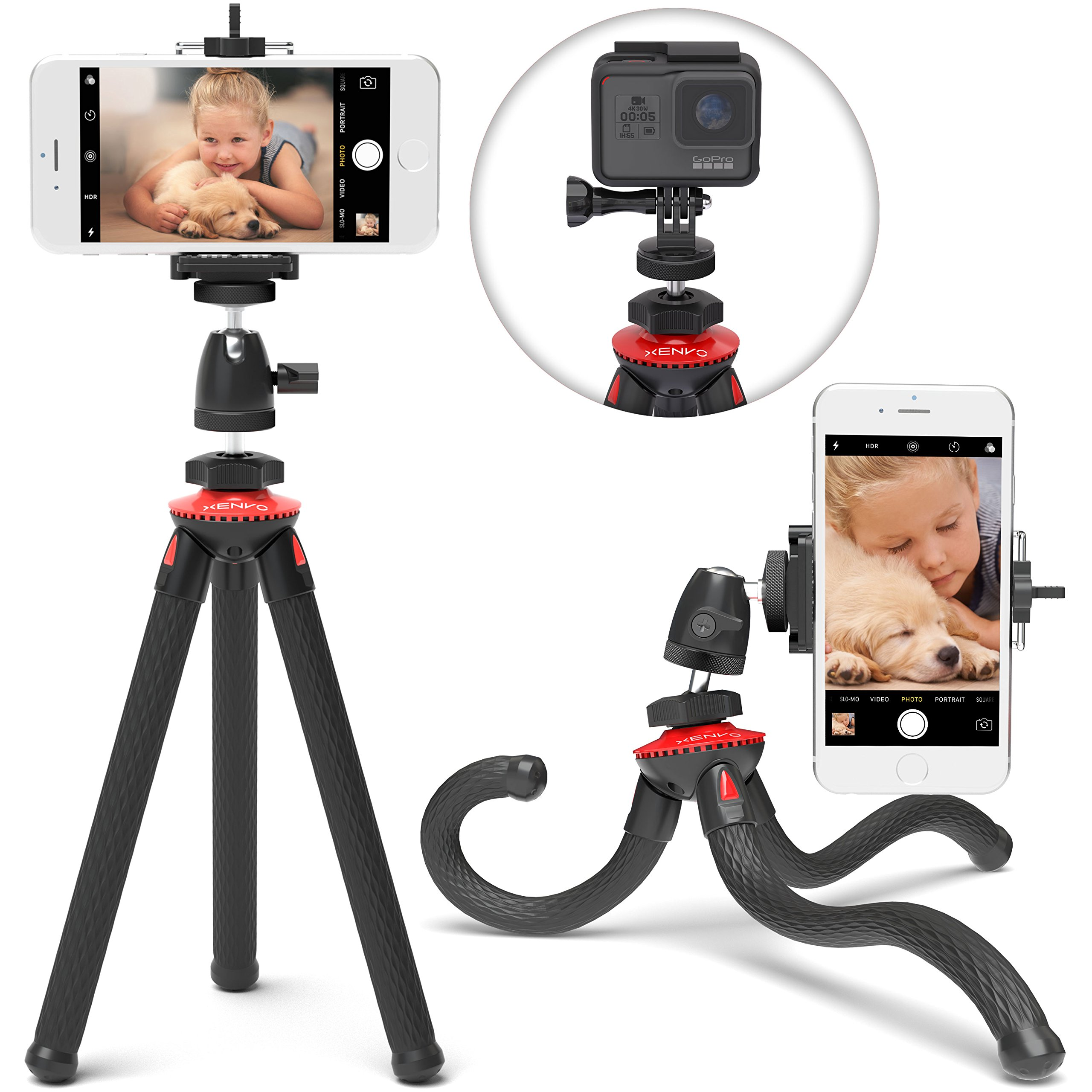 Xenvo SquidGrip iPhone Tripod, GoPro Tripod - Flexible Cell Phone Tripod Stand with Ball-Head 360, Compatible with iPhone, Android, Samsung, Google Smartphones, and ANY Mobile Phone (Red) by Xenvo
