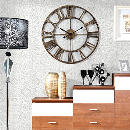 Amazon.com: XSHION Wall Clocks 20 Inch Round Retro Rustic Battery Operated Decorative Vintage /Wall Clock Metal Art Easy to Read Wall Clock for Home/ ...