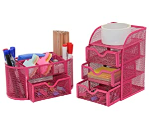 PAG Office Supplies Mesh Desk Organizer Set Pen Holder Accessories Storage Caddy with Drawer, Rose