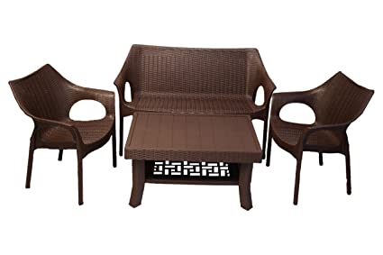 Supreme Plastic 4 Seater Table Chair Set Love Seat 2 Cambridge