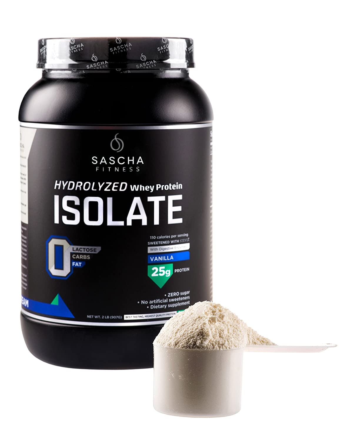 Sascha Fitness Hydrolyzed Whey Protein Isolate,100% Grass-Fed (2 Pounds, Vanilla)
