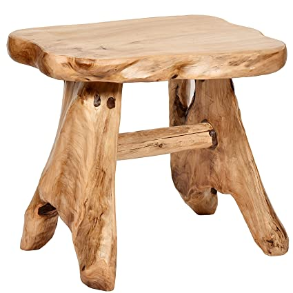 Exceptional WELLAND Natural Wood Indoor/Outdoor Stool Cedar Garden Bench