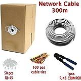 Multi-cable - Haute Qualité Cat5e Câble Réseau Ethernet - CCA - RJ45 - 300 mètres vec un pince à sertir et attaches de câble - Gris - UTP