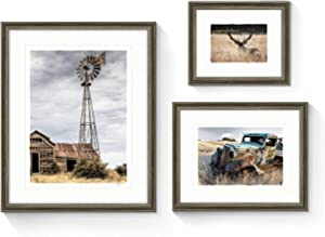 Farm Pictures Framed Artwork Decor - Rustic Countryside Scenes and Wildlife Elk Photo Prints Wall Art with Brown Frames for Bathroom, Living room, Office 3 Panels