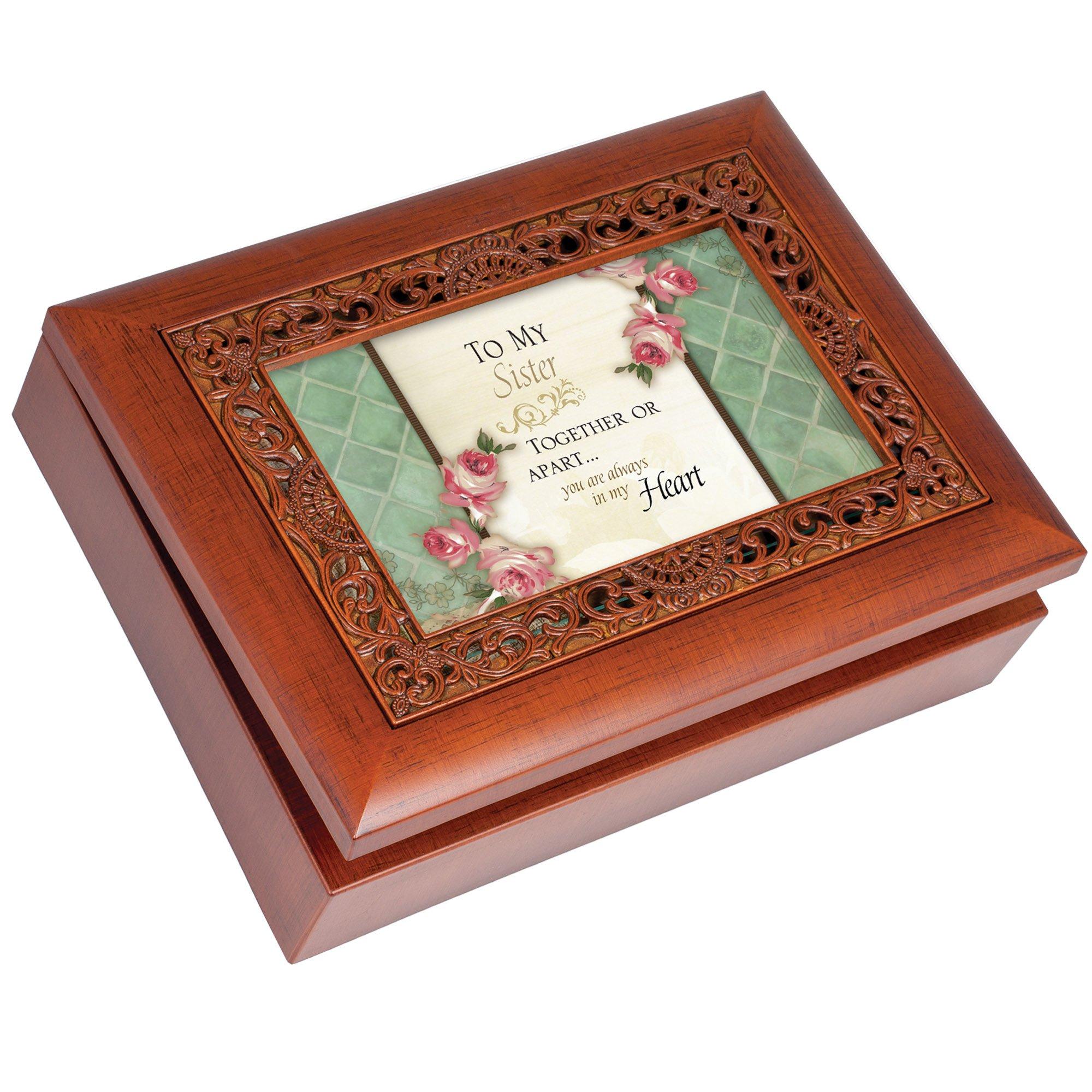 Cottage Garden Sister Woodgrain Ornate Music Box Plays Wonderful World by Cottage Garden (Image #1)