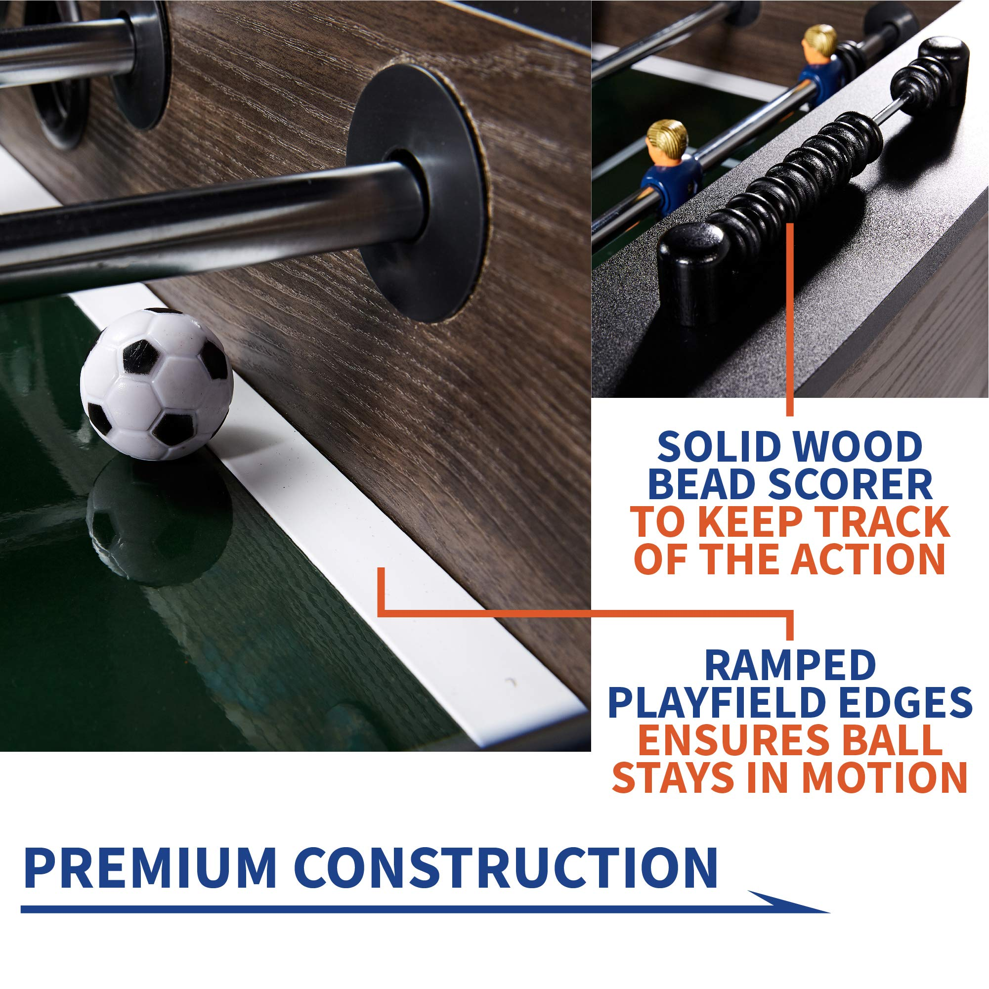 """Rally and Roar Foosball Table Game – 56"""" Standard Size Fun, Multi Person Table Soccer Adults, Kids - Recreational Foosball Games Game Rooms, Arcades, Bars, Parties, Family Night by Rally and Roar (Image #4)"""