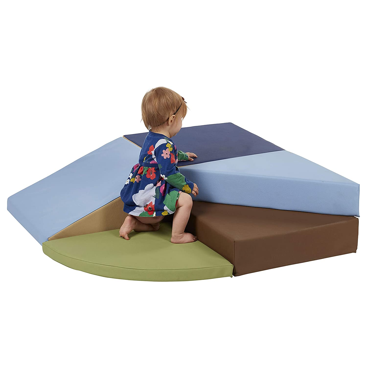 ECR4Kids SoftZone Tiny Twisting Foam Corner Climber Soft Foam Play Set Indoor Active Play Structure for Toddlers and Kids Contemporary ELR-12669F-CT