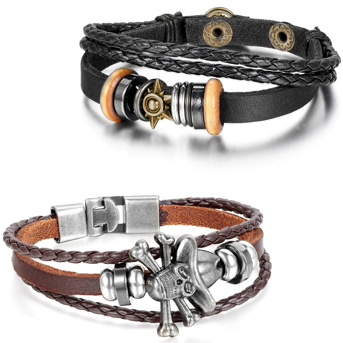 Aroncent 2pcs Leather Bracelet Vintage Sun Pirate Skull Bangle Wristband - Black Brown arnfr-0332