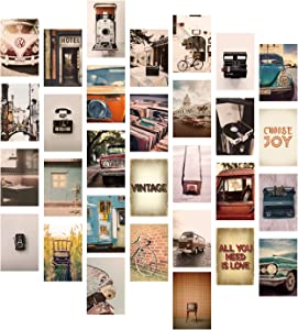 YUMKNOW Aesthetic Wall Collage Kit - 4x6 inch Set of 30, Cute Teen Room Decor for Bedroom Dorm, Motivational Wall Art, Vintage and Retro Photo Picture Posters, Inspirational Gift for Teen Girls Boho