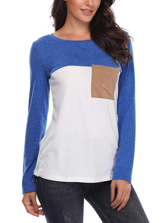 VETIOR color Block Stripe Shirt, Long Sleeve Reglan Baseball Tee Top Blouse for Women bluee M