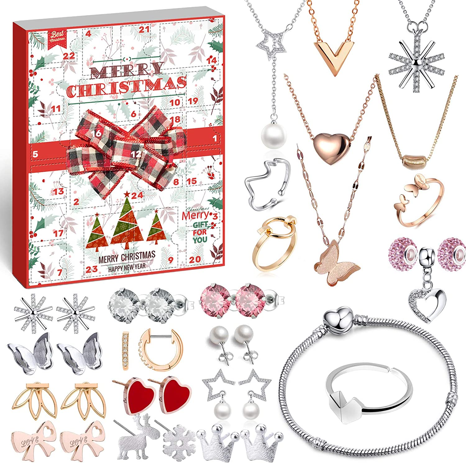 Amazon Com Movinpe Jewelry Advent Calendar For Women 2020 Christmas Fashion Bracelet Necklace Earring Rings 24 Days Countdown To Holiday Xmas Surprise Gift For Wife Daughter Mom Adult Girls Home Kitchen