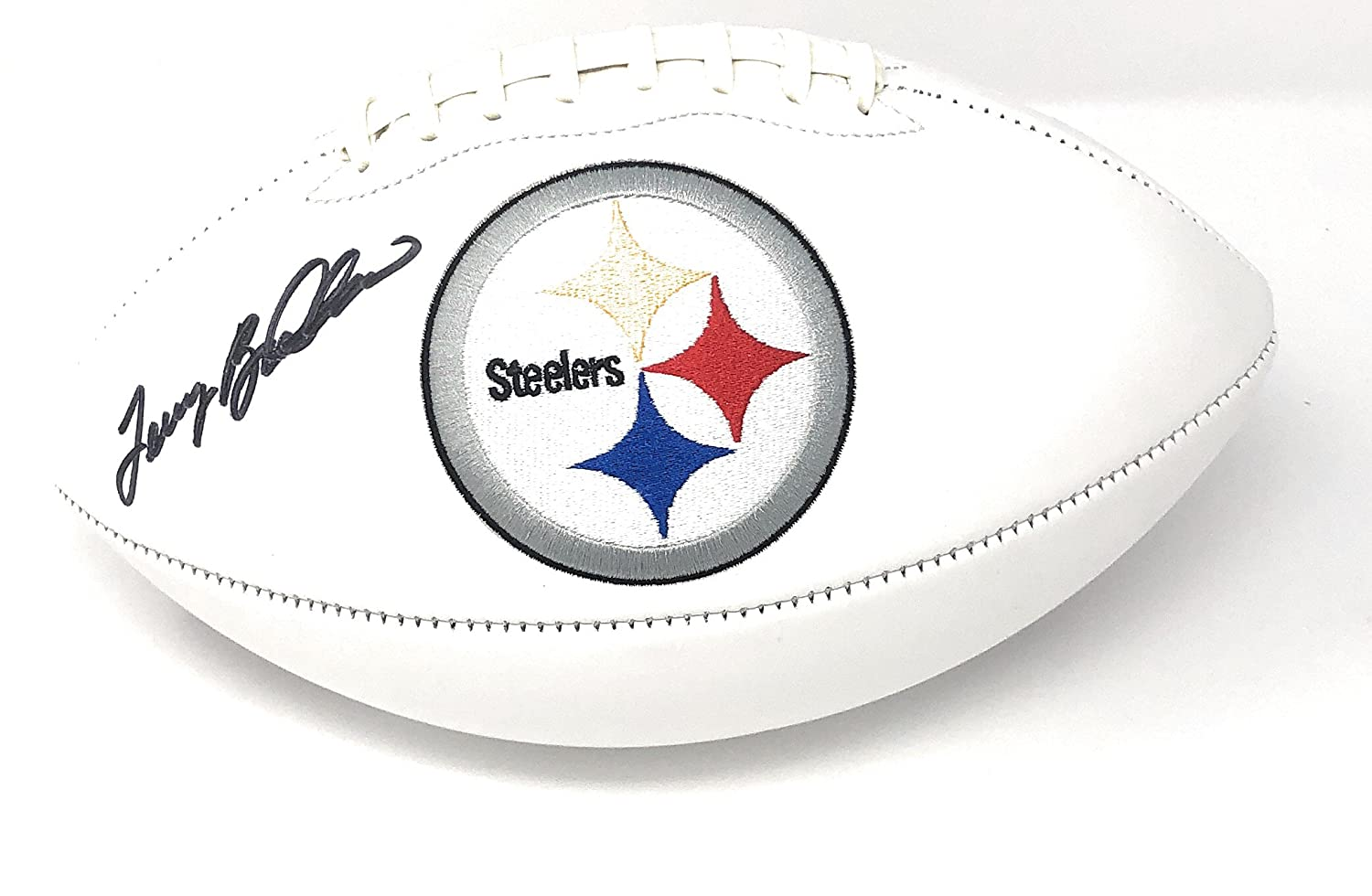 Terry Bradshaw Pittsburgh Steelers Signed Autograph Embroidered Logo Football Bradshaw GTSM Player Hologram
