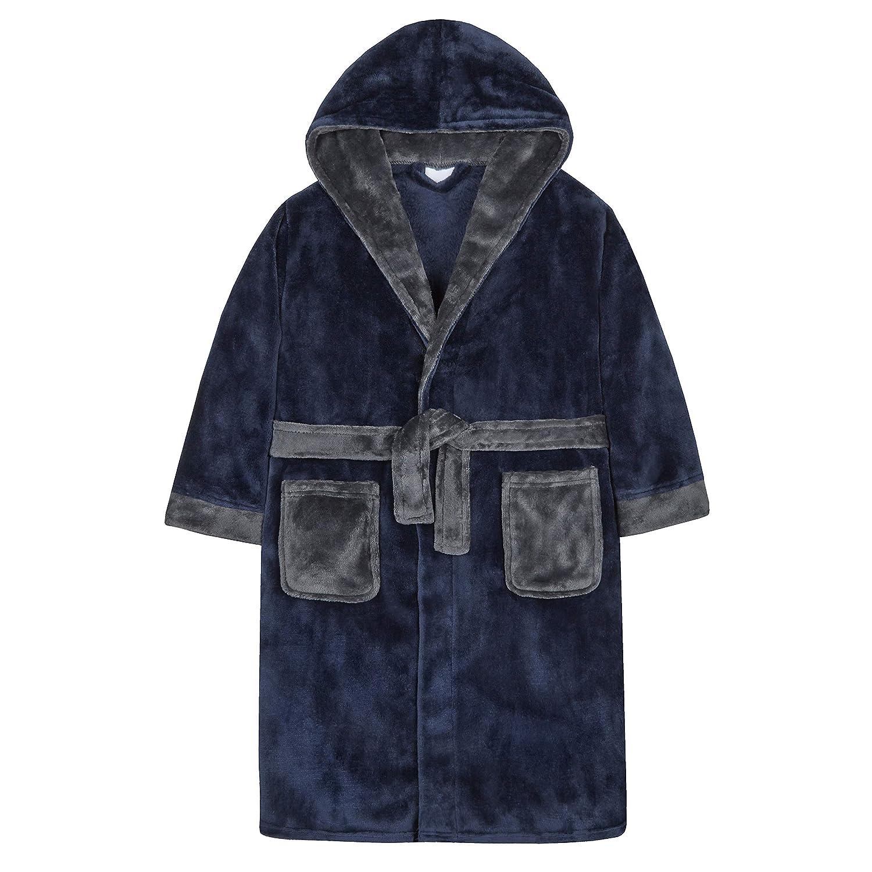 Boys Contrast Trim Plush Fleece Dressing Gown