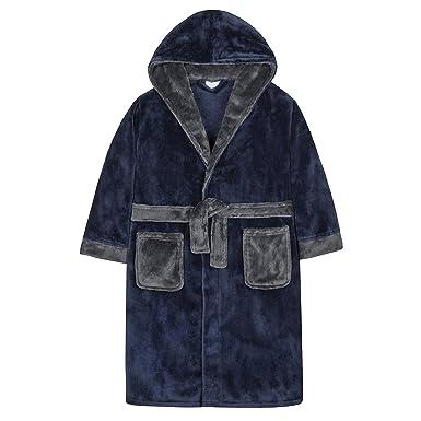 14229a9fb40 4Kidz Robe de Chambre en Molleton à Garniture Contrastante pour garçon (7-8  Ans