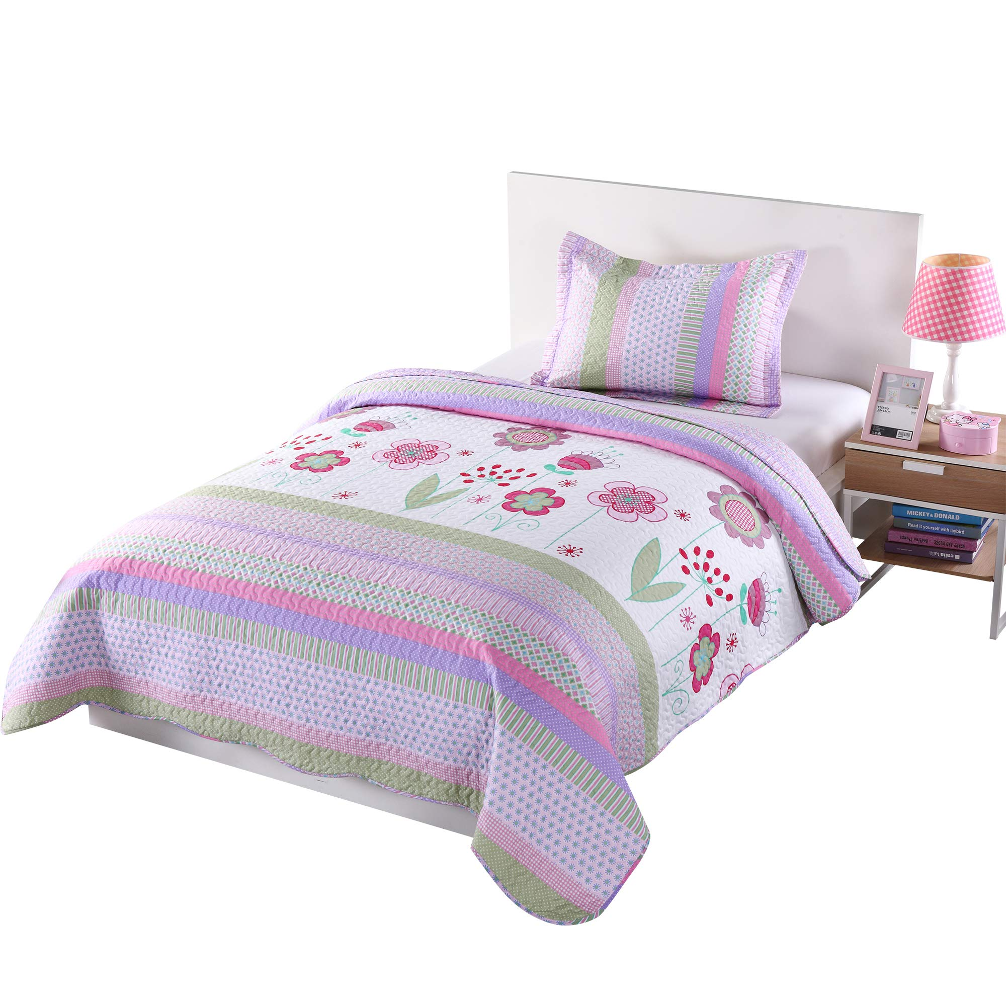 MarCielo 2 Piece Kids Bedspread Quilts Set Throw Blanket for Teens Girls Bed Printed Bedding Coverlet, Twin Size, Purple Floral Striped (Twin)