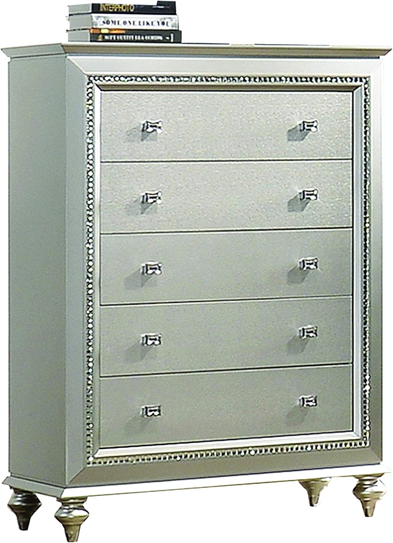 Benjara 5 Drawer Spacious Chest With Mirror Beveled Pulls And Bun Feet Silver Furniture Decor