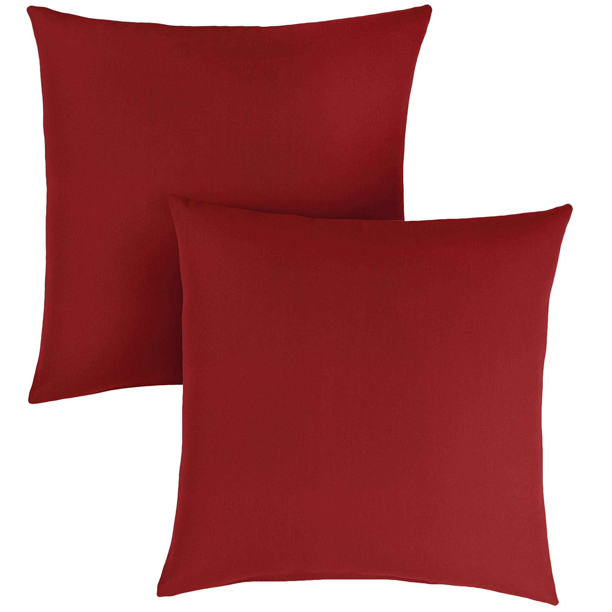 1101Design Sunbrella Canvas Jockey Red Knife Edge Decorative Indoor/Outdoor Square Throw Pillows, Perfect for Patio Décor - Jockey Red 20'' (Set of 2)