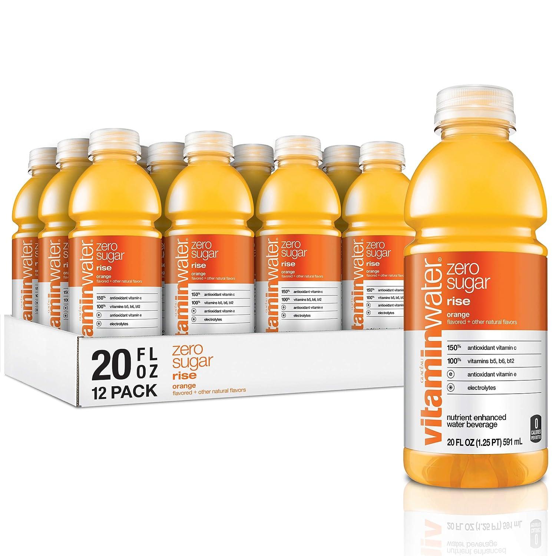vitaminwater zero rise, orange flavored, electrolyte enhanced bottled water with vitamin b5, b6, b12, 20 fl oz, 12 pack