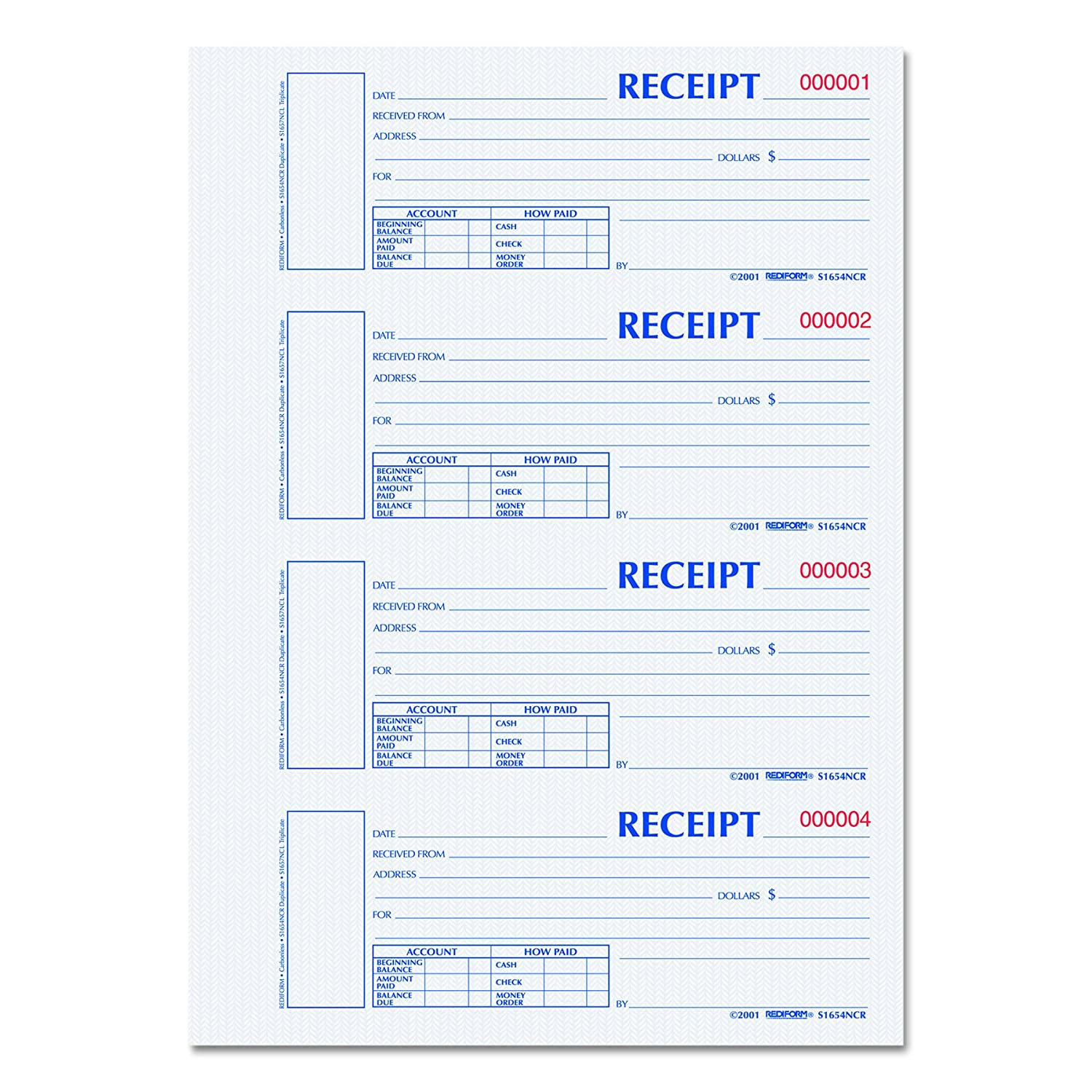 Rediform Hardcover Carbonless Numbered Money Receipt Book, 300 Duplicate Sets per Book (S1654N-CR) S1654NCR