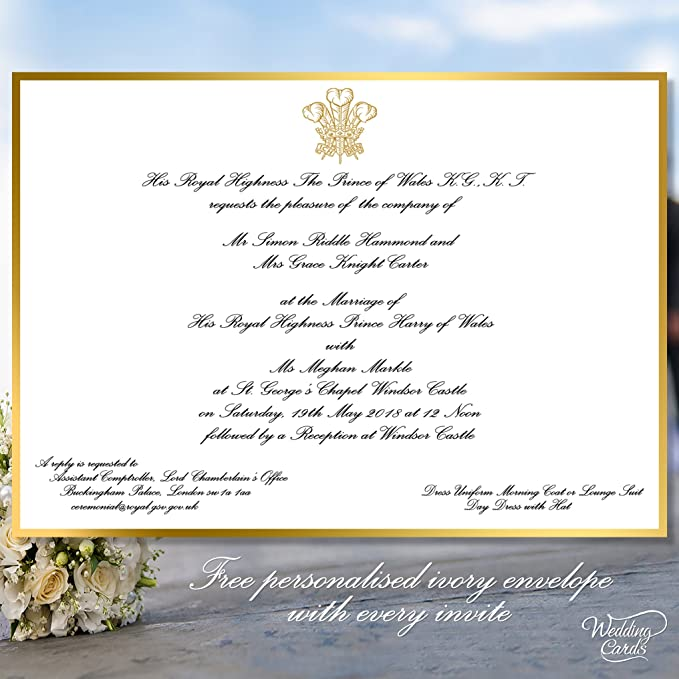 royal wedding invitation prince harry and meghan replica souvenir card personalised invite envelope any size any colour any text a4 a5 a6 a7 amazon ca home kitchen amazon ca