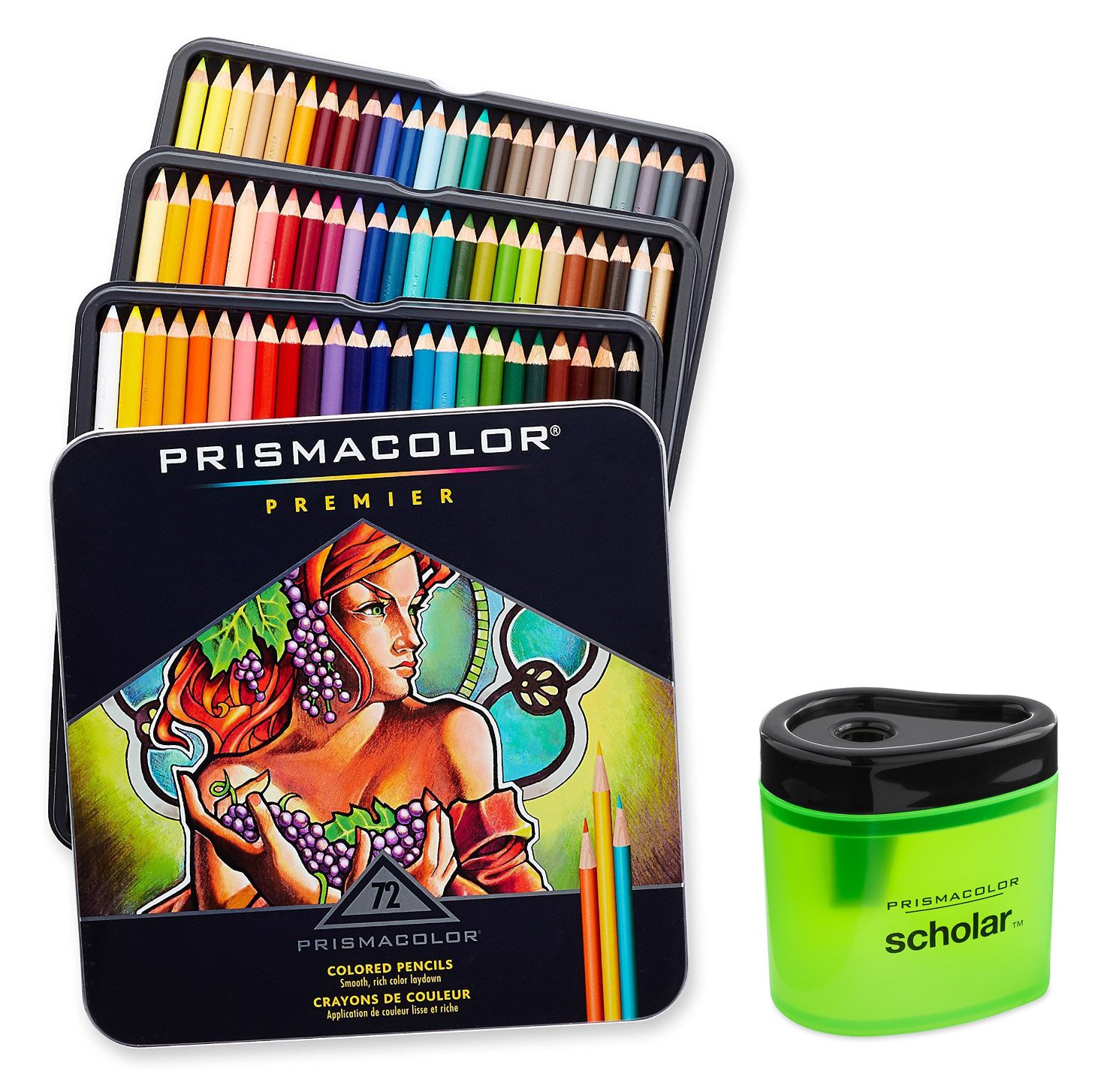 Prismacolor 3599TN Premier Soft Core 72 Colored Pencils + 1774266 Scholar Colored Pencil Sharpener; Perfect for Layering, Blending and Shading; Soft, Thick Cores Create a Smooth Color Laydown by Prismacolor (Image #3)