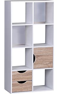 Wohnling Bücherregal 60 X 120 X 29 Cm Sonoma Eiche Mit Schubladen Und Tür  Weiß