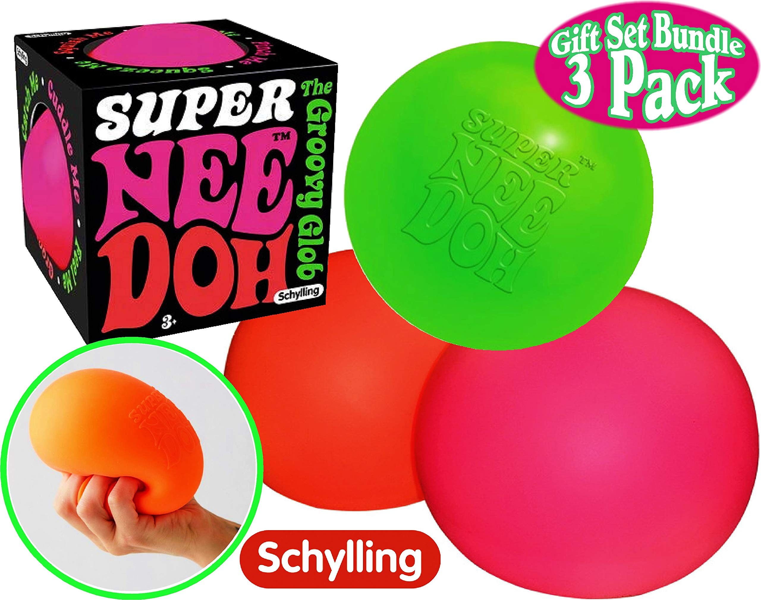 Schylling Super NeeDoh The 4.5'' Groovy Glob! Squishy, Squeezy, Stretchy Stress Balls Green, Orange & Pink Complete Gift Set Bundle - 3 Pack by Schylling